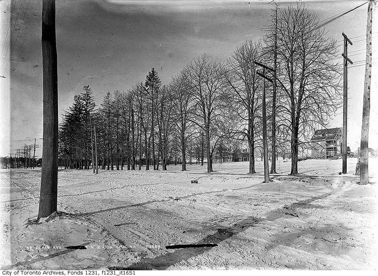 North-east corner of St. Clair Avenue and Spadina Road, looking west Photographer: Arthur Goss January 12, 1912