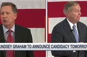 Lindsey Graham, John Kasich on verge of entering 2016 Race |  .. Senator Lindsey Graham and Ohio Governor John Kasich are on the verge of jumping in the Republican presidential race .. Where do they stand in the polls ? Chuck Todd joins Steve Kornacki to discuss .. [Duration: 5:34]
