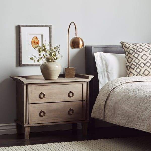 I Love Living Grey Weathered 2 Drawer 30 Inch Bedside Table With