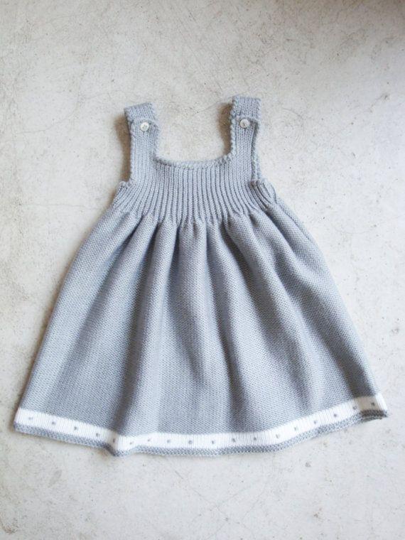 Grey Knitted Dress - 100% wool - anti-allergic