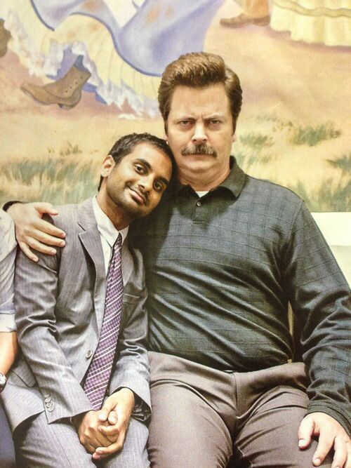Aziz Ansari and Nick Offerman as Tom Haverford and Ron Swanson | Parks and Recreation