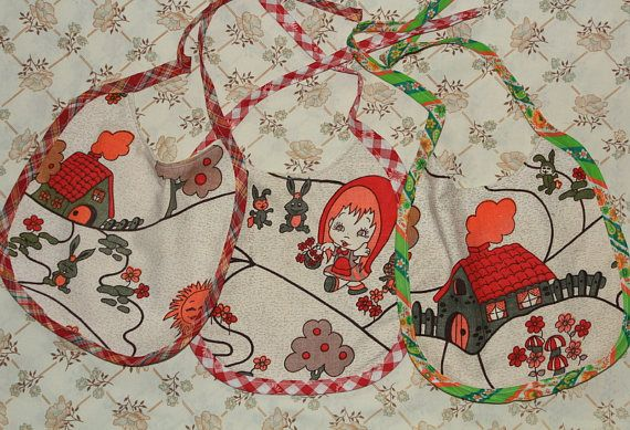 set of three bibs barkcloth with houses and little red riding