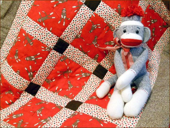 FUNKY MONKEY Red Crib Quilt for Baby Boy or by BearHugBabyQuilts, $52.00