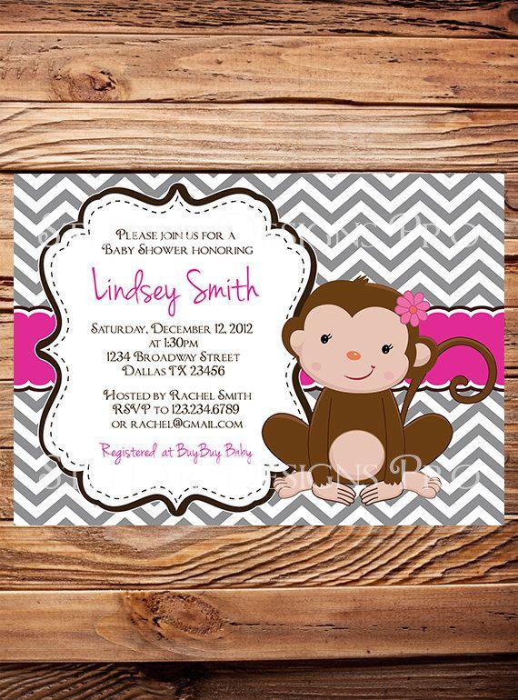 Monkey Baby shower Invitation, Little Monkey, Chevron Stripes Monkey Baby Shower, Boy, Girl, Boy Baby Shower, Pink, Blue, Brown (Item 5153)
