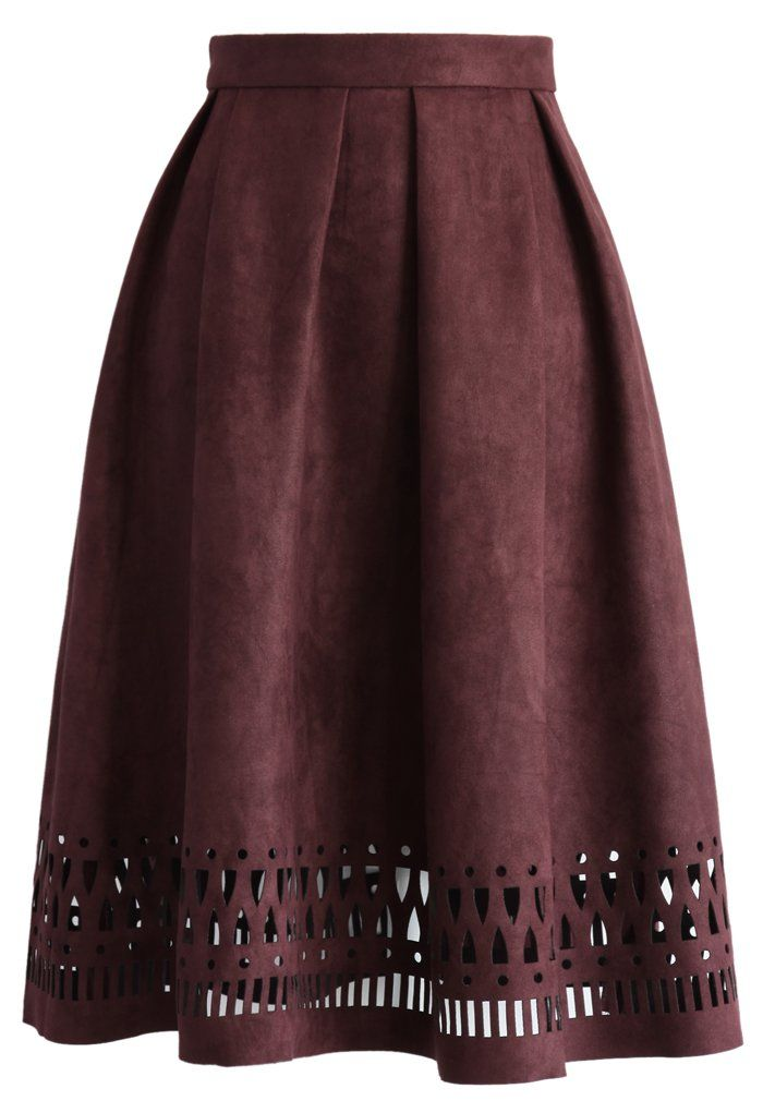 Geo Cutout Suede Pleated Midi Skirt in Plum - New Arrivals - Retro, Indie and Unique Fashion