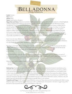 Magical and Medicinal Uses of Belladonna. Includes FREE BOX page.