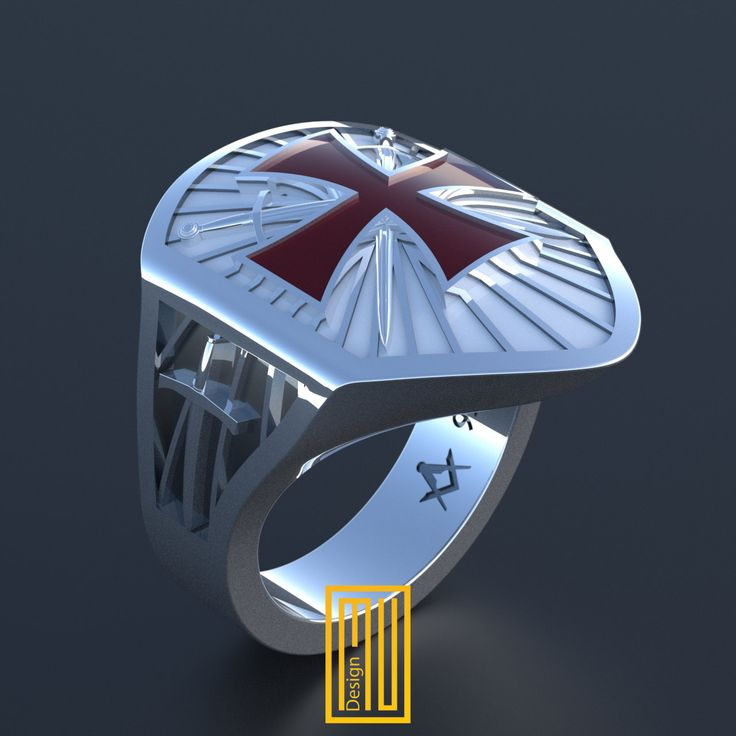 The Knights Templar Ring Unique Design for Men  925K Sterling Silver with Hot Enamel (KTY2015-KTSE) by MuDesignJewelry on Etsy