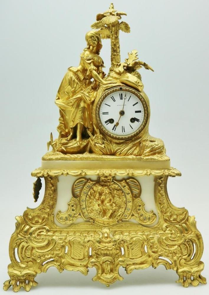 Antique French Empire 8 Day Bronze Figural Clock Original Large Mantel Clock