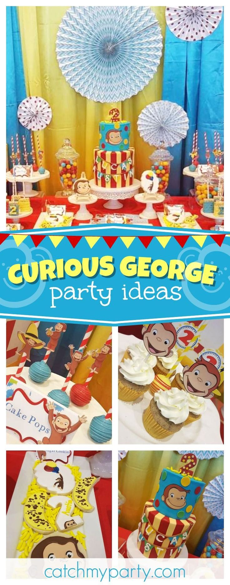 Check out this fun Curious George birthday party for twins!! The birthday cake is fantastic! See more paty ideas and share yours at CatchMYParty.com #partyideas #catchmyparty #curiousgeorge #twins