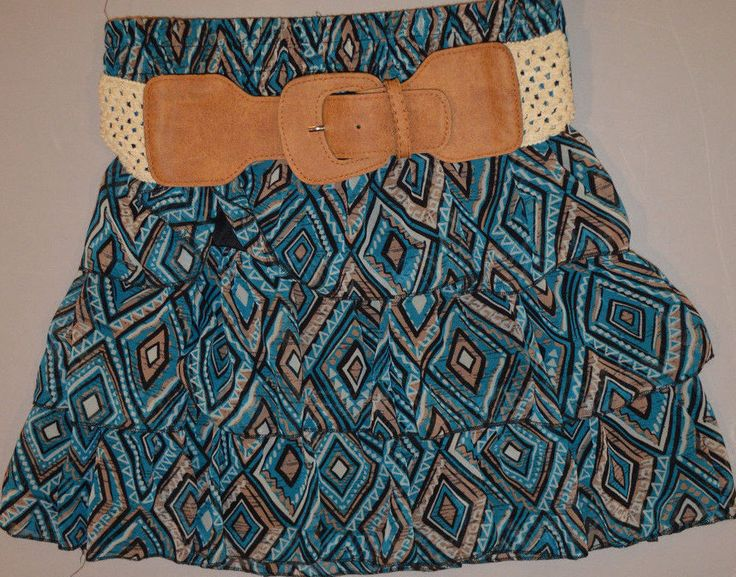Women's Rue 21 Blue & Tan Geo Ruffle Elastic Waist Skirt & Belt Juniors Medium #rue21 #Tiered