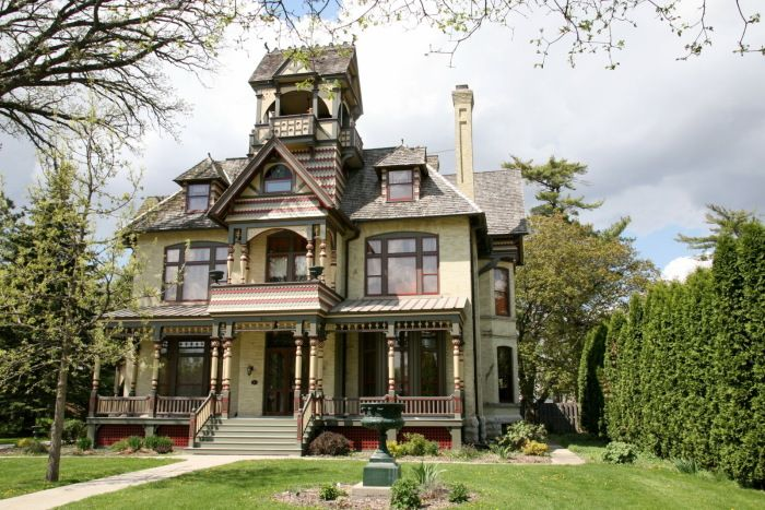 Allyn Mansion, 511 E Wakworth Ave, Delavan, WI  For Sale:  $1.2 million  In 1885, this restored mansion was built for the Allyns, a wealthy farming family.  In 1913, Mr. Allyn died while reading his paper in the parlor.  Following his death, the property changed hands until it became a nursing home, furniture store and recently a bed-and-breakfast. In 2007 the B&B closed its doors.  Some claim it is haunted.