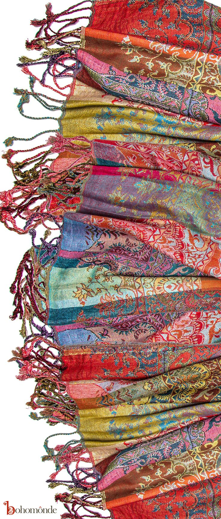 Woven Paisley and Striped Pattern, Reversible Pashmina with Twisted Knotted Fringe Ends for fall boho, bohochic style and layerig can be worn as a scarf or a shawl, an excellent layer for cooler days and evenings, Hand Woven in India, brightly colored paisley stripes, and elasticized pathches
