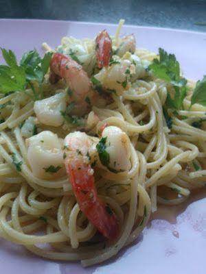 Blondynka Gotuje: Spaghetti krewetkowe