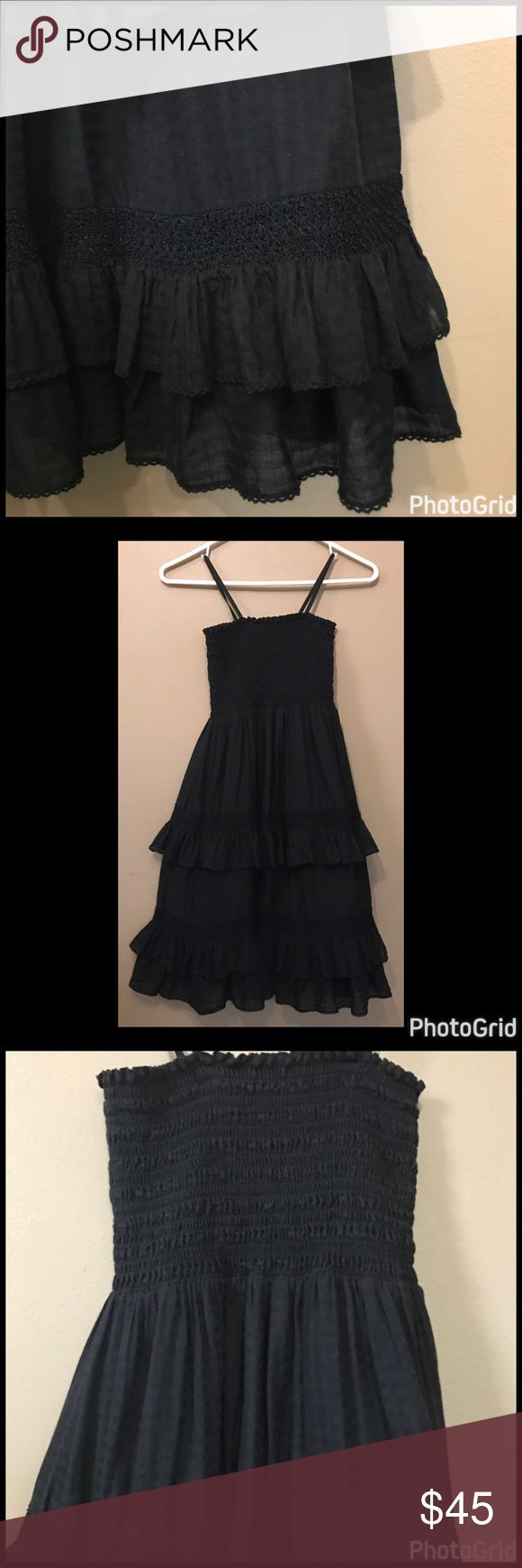 "Juicy Couture Ruffled Tube Dress Excellent used condition! Black ruffled dress with stretch tube top style top with straps. Lined with ruffled bottom. Approximately 34"" from top of shoulder. 100% gauze like cotton. Slightly striped. Juicy Couture Dresses Midi"