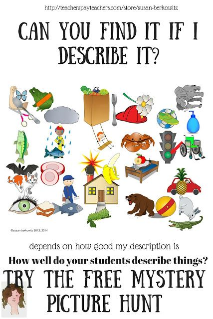 Classroom Freebies: Susan Berkowitz's Free Mystery Picture Hunt for Speech and Language