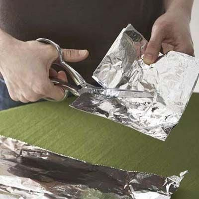 Sharpen scissors by folding foil several times and cutting it