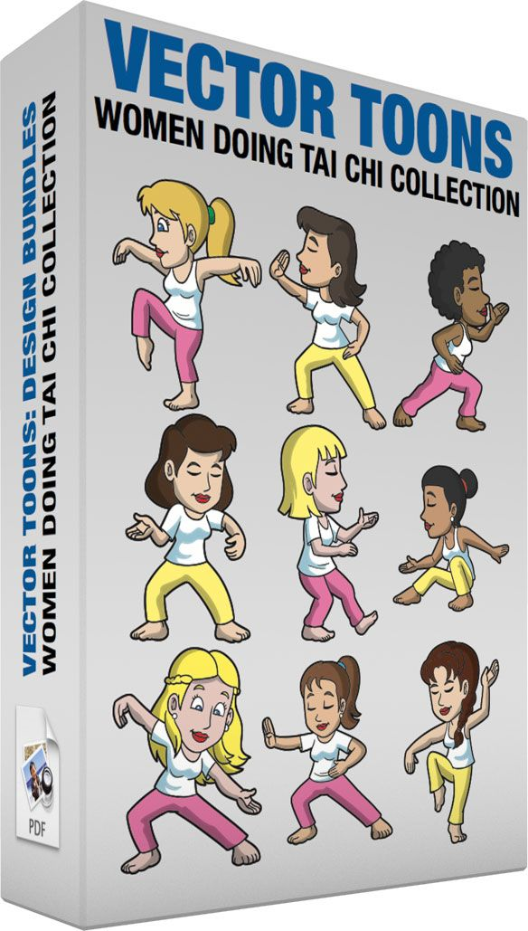 Women Doing Tai Chi Collection:   Bundle of images includes the following:  A Woman Doing A Crane Tai Chi Pose A woman with blonde hair in wearing a white tank top pink pants smiles while doing a crane tai chi pose  A Woman Doing A Parry And Punch Tai Chi Pose A woman with dark brown hair wearing a white shirt yellow pants shuts her eyes to do a parry and punch tai chi pose  A Woman Doing A Strike The Tiger Tai Chi Pose A black woman with curly hair wearing a white tank top pink pants shuts…