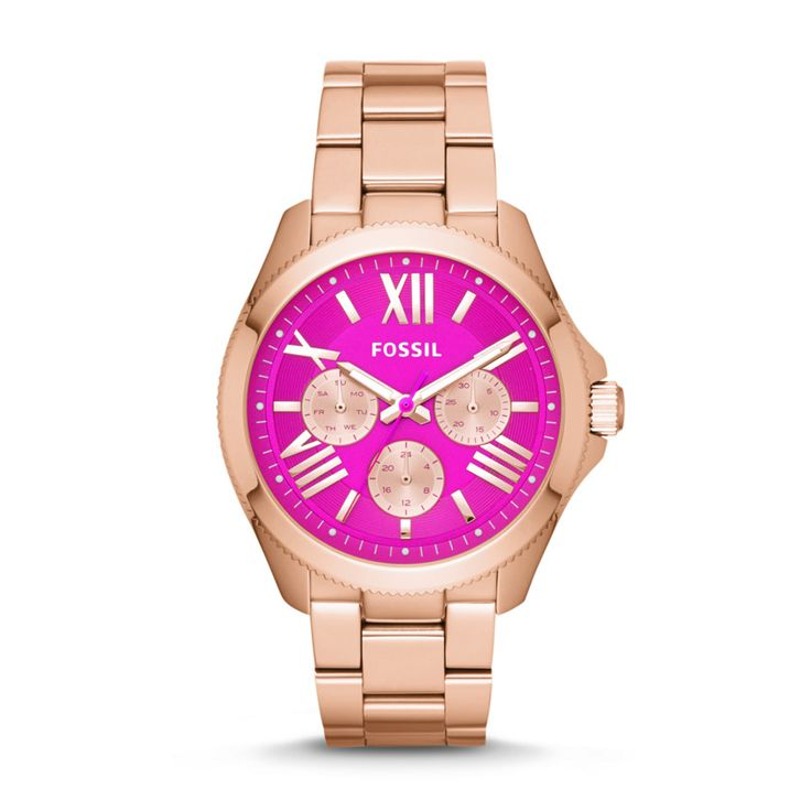 Fossil Cecile Multifunction Stainless Steel Watch – Rose Gold-Tone  love the pink face! so cute and fun