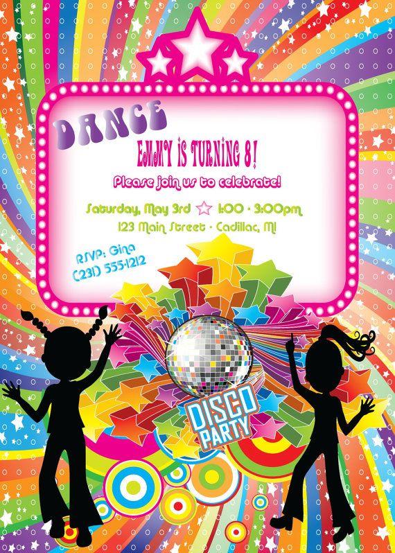 Disco Dance Birthday Invitation - Girls Birthday ...