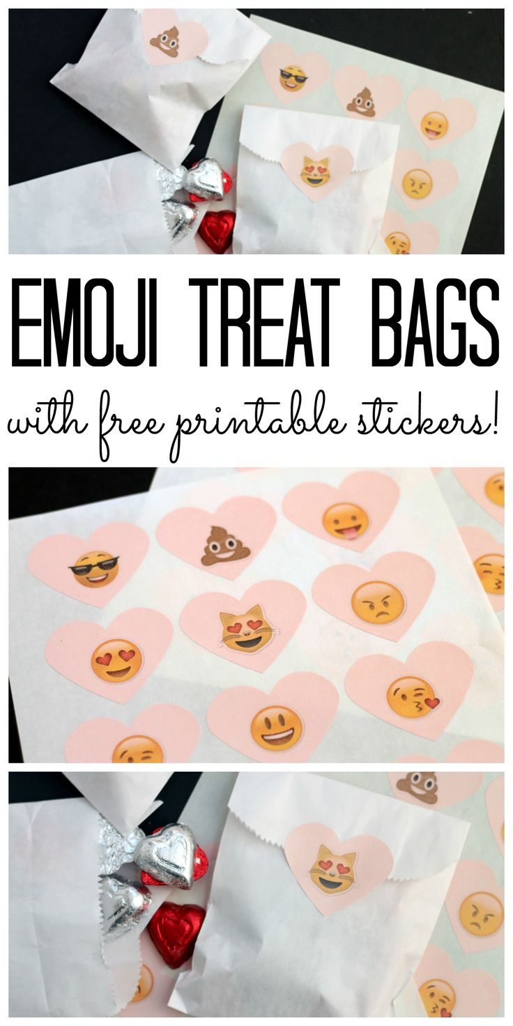 Make these emoji treat bags with these free printable Valentine's Day emoji stickers!  Such a simple and cute valentine idea for kids!