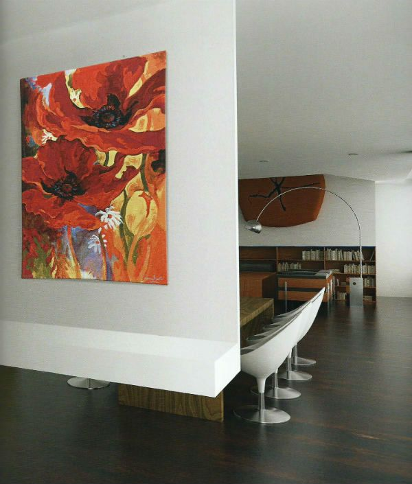 Simon Bull watercolour art tapestries - his vibrant Bright New Day tapestry woven in Belgium