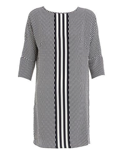 Relaxed fit dress made from Silk crepe de chine. Featuring an on trend window pane print with mid sport stripe, side pockets, a round neckline  3/4 sleeves.