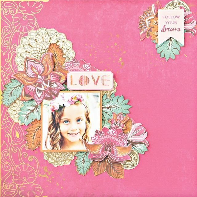 We don't know about you BUT our Bombay Sunset collection makes our hearts happy! All of those beautiful colours  This divine layout by @paper_sweetpea is just so pretty! #kaisercraft #bombaysunset #scrapbooking #layout #designteam #blog #love #colours #papercraft