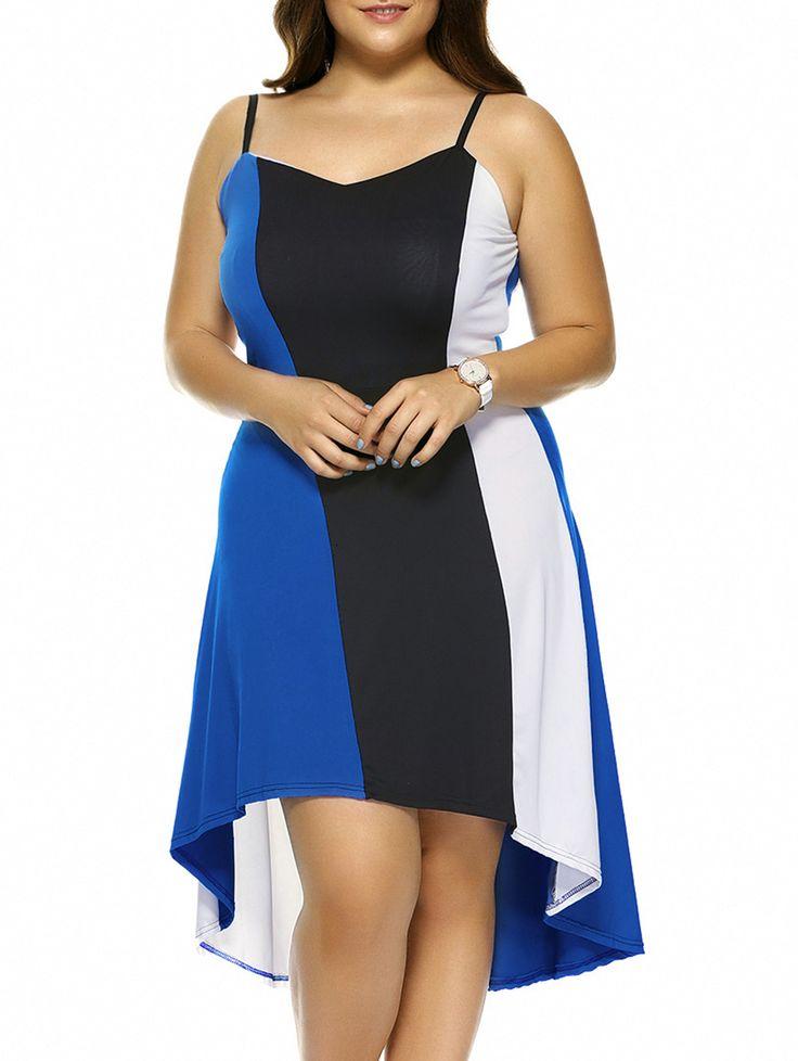 Plus Size Hit Color Asymmetrical Dress