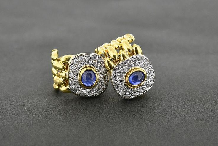 Cabochon sapphire and diamond earrings set in 18kt yellow gold #platinumworksbespoke