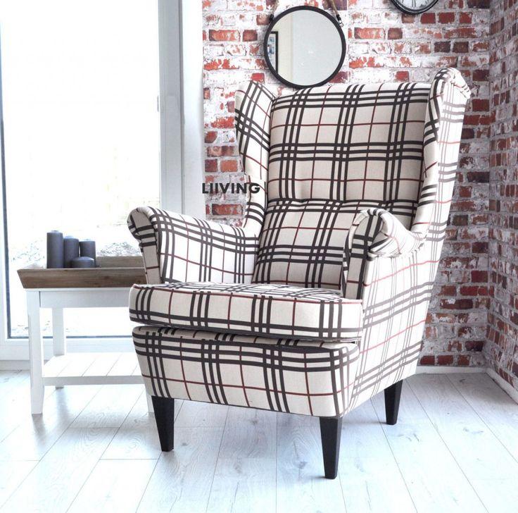 Wspaniały fotel w kratę ! Fotel uszak BURBER