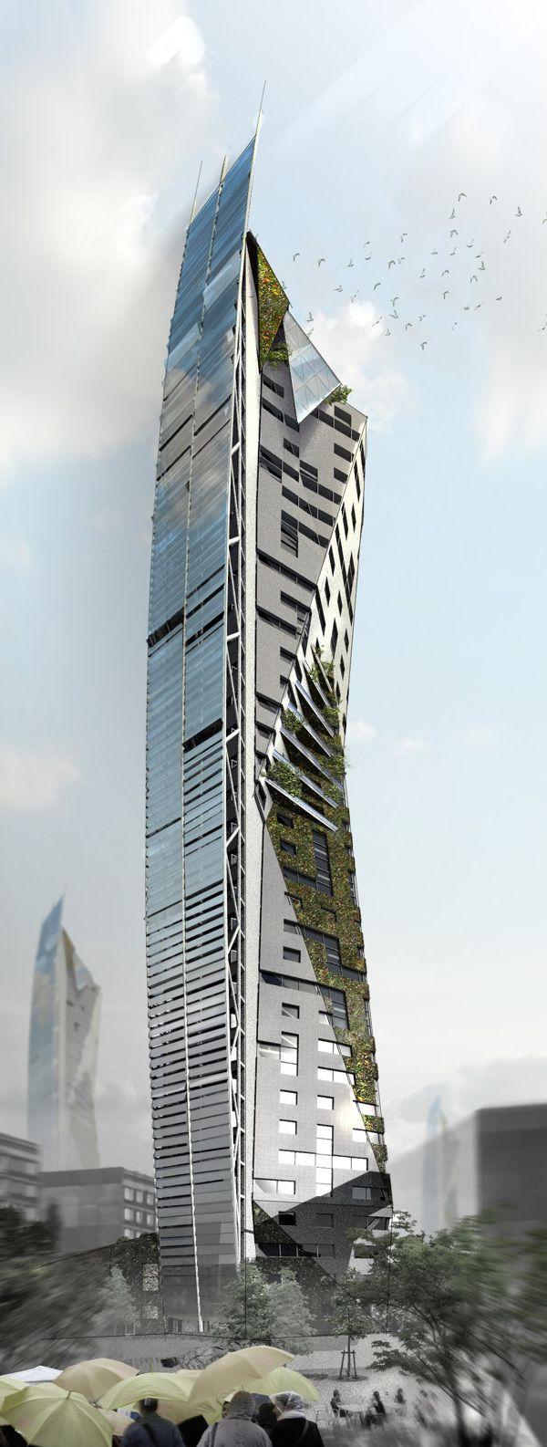 Architecture Eco Tower, Kiev, Ukraine by Pavlo Kryvozub