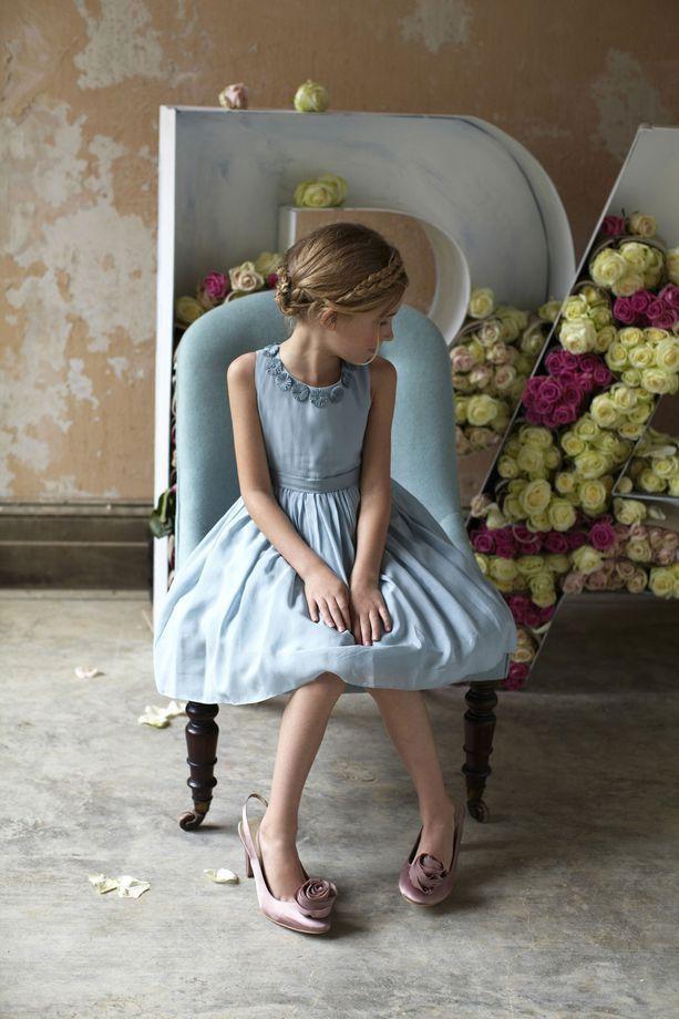 Vestiti per paggetti e piccole damigelle | Abitino azzurro da damigella | FOTO