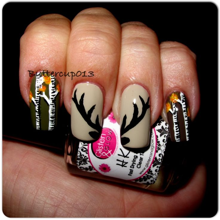 Hunting inspired nails...freehand elk antlers and aspen trees ...done by buttercup013 (me) #buttercup013