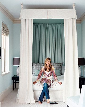 Fabric Canopy  This extravagant fabric canopy in Clare Pernice's master bedroom was made with about 18 yards of fabric and was not much trickier than a set of custom drapes. Yet the visual impact of the sweeping layers of creamy cotton is grand, to say the least.