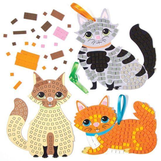 Maak ontwerp je eigen moza�ek katten - knutselspullen voor kinderen (5 stuks)