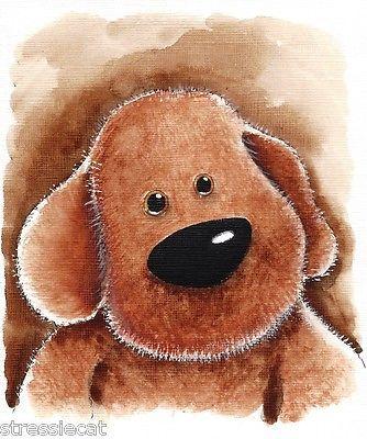 Original Watercolor Painting Folk Art Whimsical Puppy Fluffy Dog Pet Plush Toy   eBay