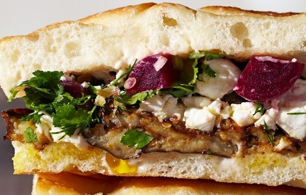 Roasted Eggplant and Pickled Beet Sandwich / 18 Tasty Fall Vegetable Recipes (via BuzzFeed)