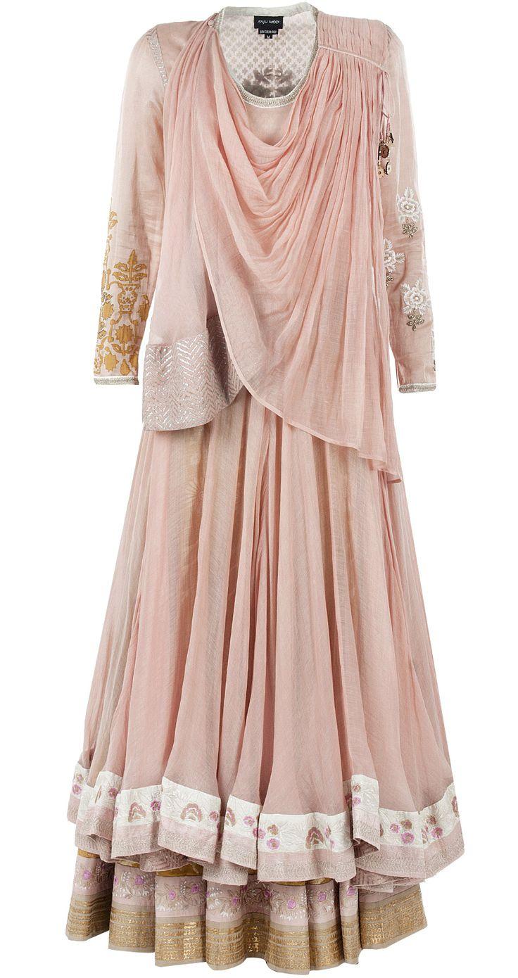 Blush lehenga set by ANJU MODI. http://www.perniaspopupshop.com/designers-1/anju-modi