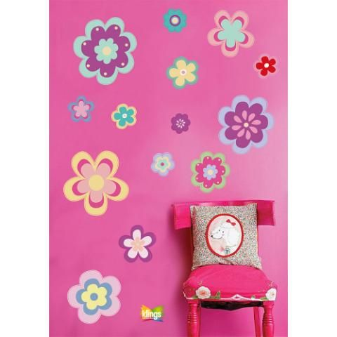 Vinilo decorativo infantil flores colores ni as wall for Donde venden stickers para pared
