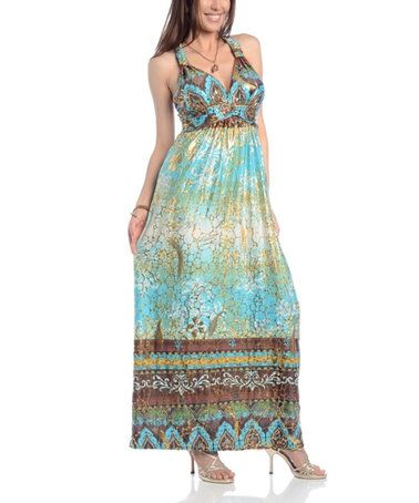 Love this Turquoise Arabesque Sleeveless Maxi Dress - Plus Too on #zulily! #zulilyfinds