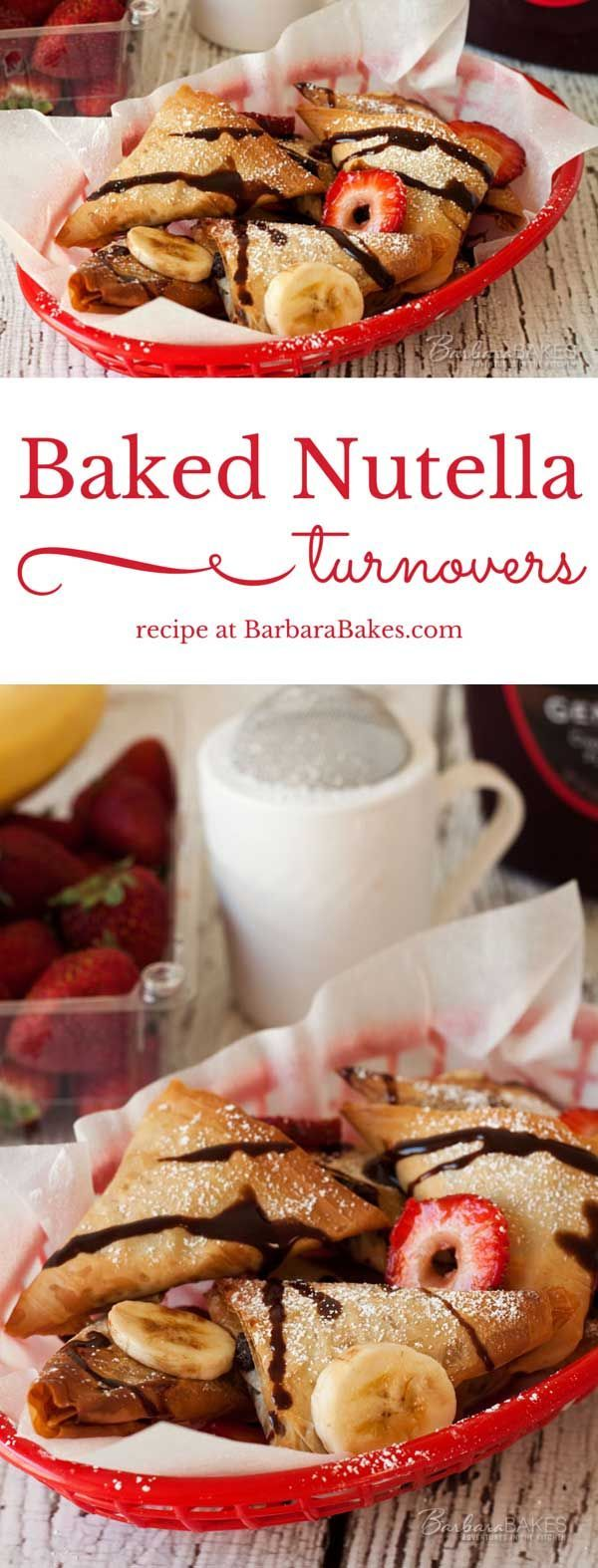 Baked Nutella Turnovers - easy to make with ready to use phyllo dough.