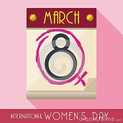 Loose-leaf calendar tagged with fuchsia marker indicated Women's Day celebration