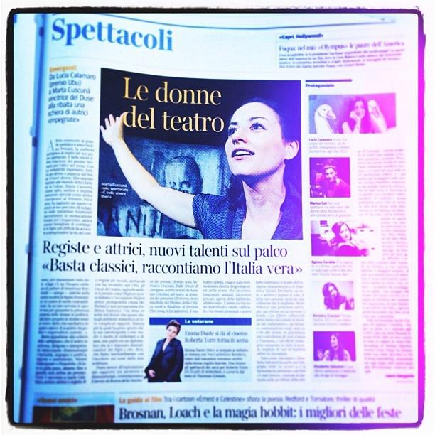 """""""Le donne del teatro"""" di Laura Zangarini  Corriere della Sera  31 dicembre 2012"""