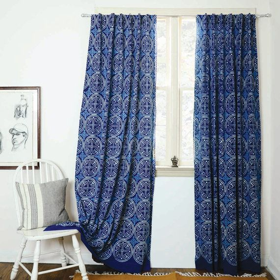 Indigo Curtains Blue Curtains Window Boho Bedroom Home