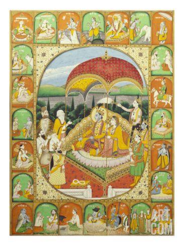 Rama and Sita Enthroned. Mandi, c.1800-1820 Art Print at Art.com