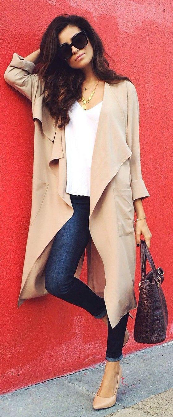 Khaki Plain No Button Pocket Turndown Collar Long Sleeve Fall Fashion Trench Coat