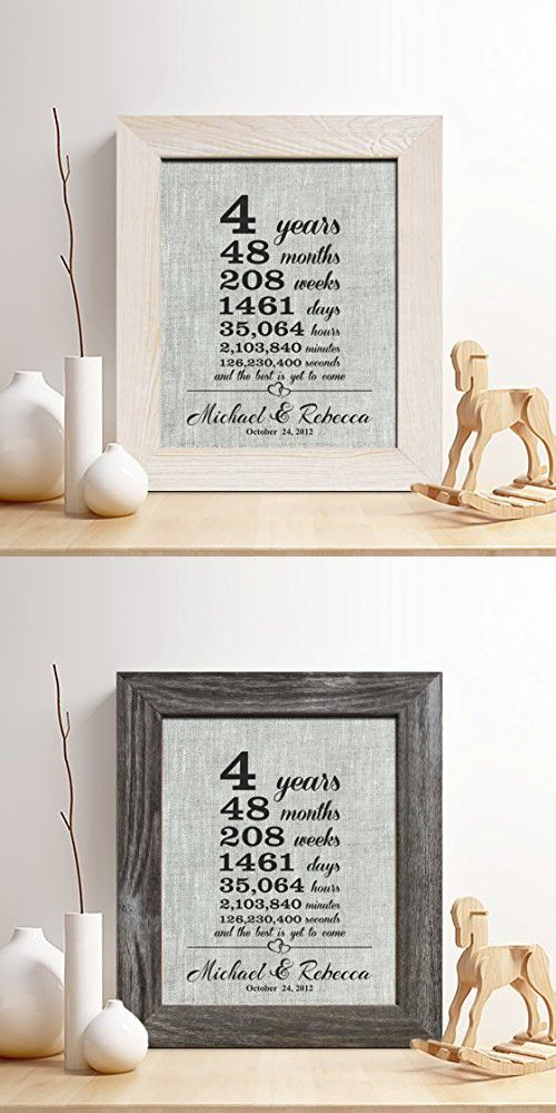"""Personalized 4th Linen Anniversary Gift for Him or Her, """"4 Years...and Counting"""" Linen Print, Gifts for Husband and Wife, 4 Years Together"""