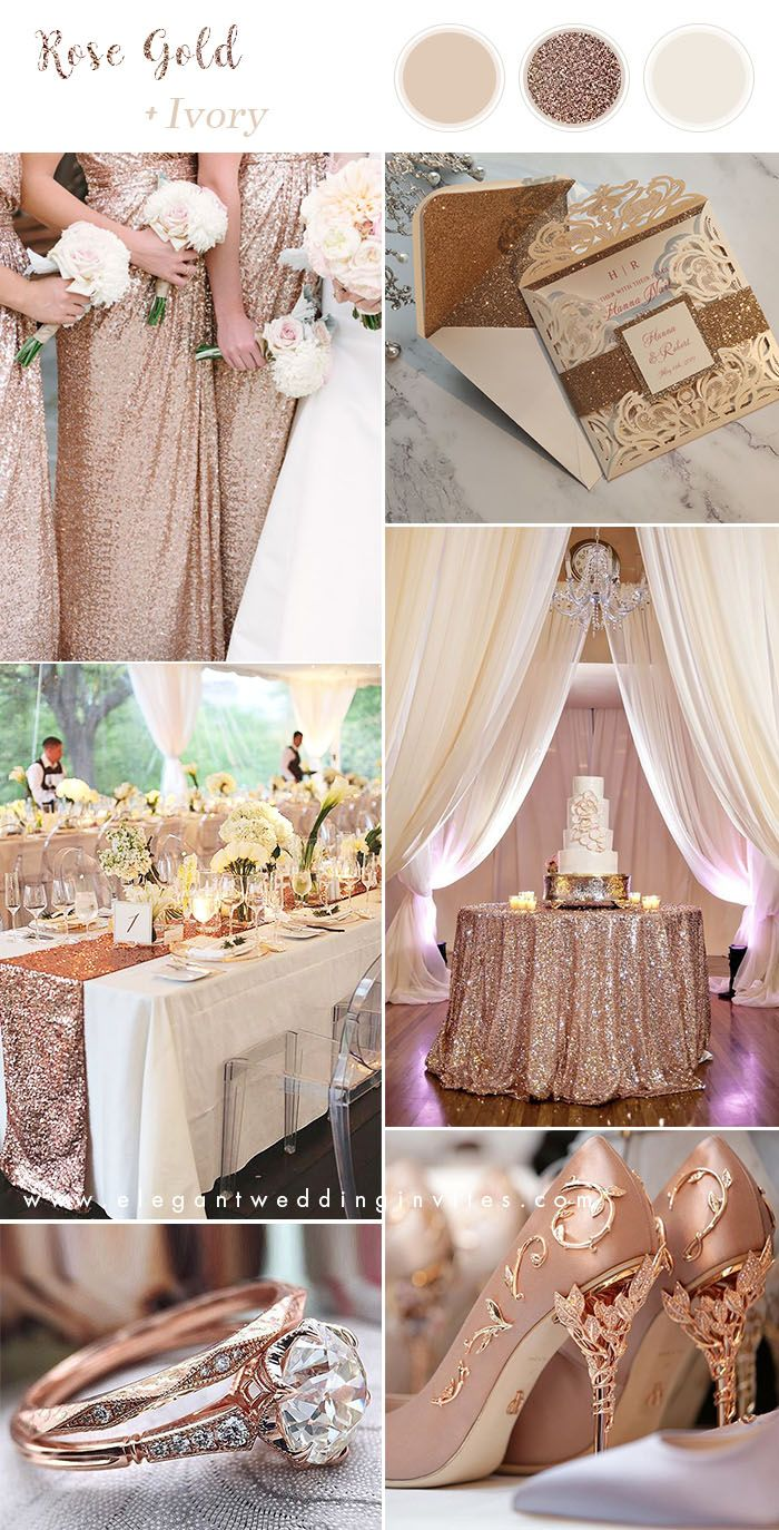 6 Stunning Metallic Wedding Color Palettes With Matching Invitations Elegantweddinginvites Com Blog Rose Gold Wedding Decor Metallic Wedding Colors Gold Wedding Decorations