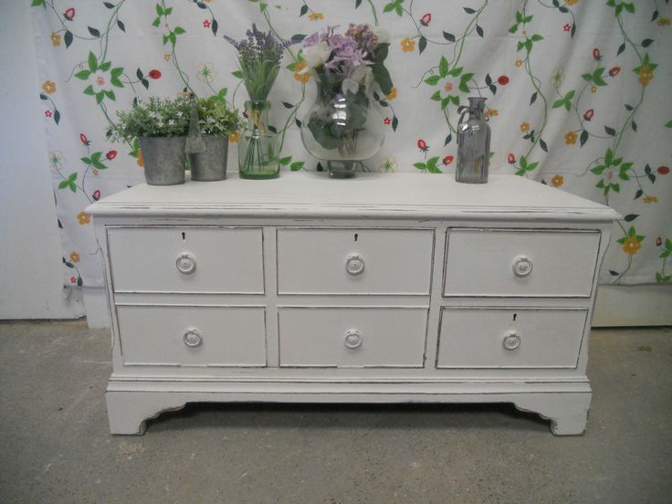 Shabby Chic TV cabinet/Storage painted in Laura Ashley and Annie Sloan
