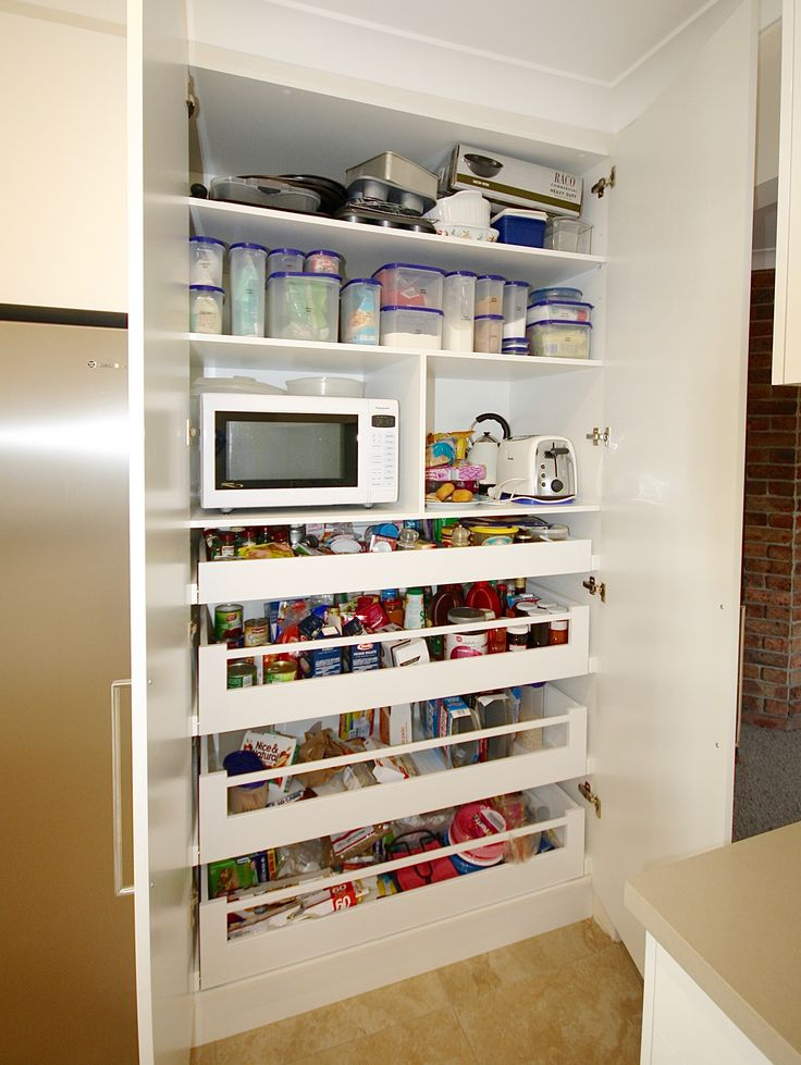 PANTRY. Blum soft closing drawers, shaped shelving for easy access to top section & microwave section (to keep it off the kitchen bench). #kbecastlehill #kitchensbyemanuel #kitchenideas #pantryideas #ideas #custom #local #storage #practical #drawers